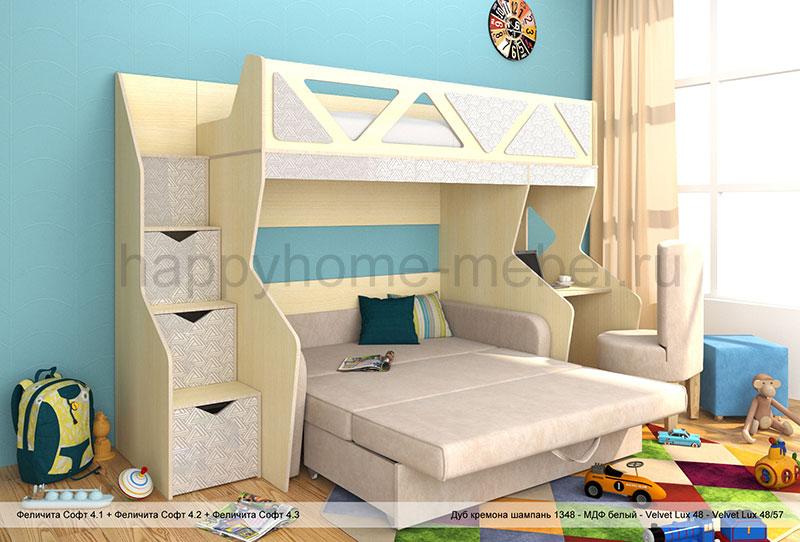 Купить Двухъярусную Кровать С Диваном В Москве